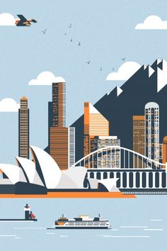 Hand-crafted metal posters designed by talented artists. We plant 1 tree for each purchased Displate. Building Illustration, House Illustration, Landscape Illustration, Graphic Design Illustration, Sydney Opera, Sydney City, Pop Art Wallpaper, City Icon, City Landscape