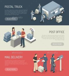 Post Office Service 3 Isometric Banners by macrovector Post office mail orders delivery online service 3 isometric horizontal banners webpage design abstract isolated vector illustratio