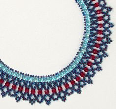 Beaded Crystal Net Necklace - Free pattern, beading, beads, kralen, gratis patroon, ketting, kralen rijgen