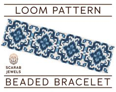 Blue Porcelain Pattern   Loom Beading Bracelet   Cuff Bead Pattern   Miyuki Delica   PDF Instant Download