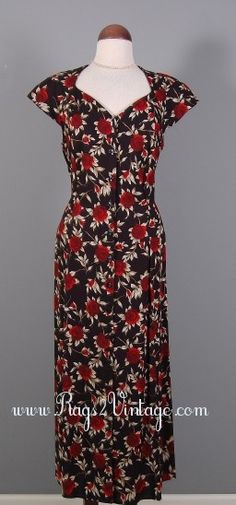 "Rags 2 Vintage - ""PrimRose"" Vintage 80s does the 40s style  Floral Cutout back Dress-Sz 16, $35.00 (http://www.rags2vintage.com/primrose-vintage-80s-does-the-40s-style-floral-cutout-back-dress-sz-16/)"