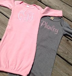Monogrammed gown, personalized sleeper, layette, coming home outfit, newborn, baby, embroidered, initials, name, sleeper by skkilby21 on Etsy https://www.etsy.com/listing/196782580/monogrammed-gown-personalized-sleeper