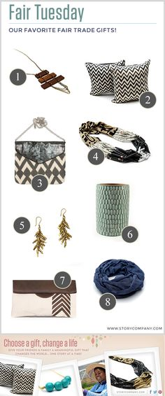 Fair Trade Gift ideas!     Featuring @storycompany // @ssekodesigns // @handcraftingjustice // @basik 855