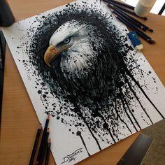 Eagle Splatter Drawing by AtomiccircuS.deviantart.com on @deviantART