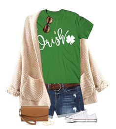 """""""🍀Irish🍀"""" by amwmik ❤ liked on Polyvore featuring WithChic, Converse, Gorjana, Charlotte Russe, Coach, Halogen and statementtshirt"""