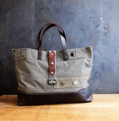 Recycled military canvas bag french antique military bag