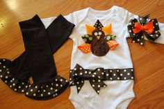 Just bought it! Audrey is going to look adorable on Turkey day!!!    Thanksgiving Ribbon Turkey Onesie Legwamers by BittyBundlesofJoy, $47.00