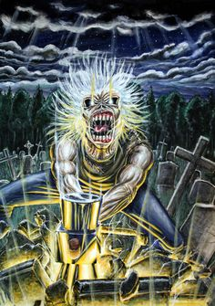 Heavy Metal, Iron Maiden Mascot, Eddie The Head, Skull Artwork, Cool Bands, Rock N Roll, Album Covers, Tattoo Ideas, Kitty