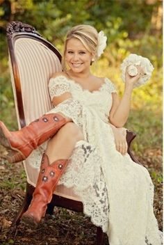 country wedding dress Gorgeous vow renewal dress c - weddingdress Rustic Wedding, Lace Wedding, Dream Wedding, Wedding Gowns, Wedding Unique, Modest Wedding, Church Wedding, Trendy Wedding, Dress With Boots