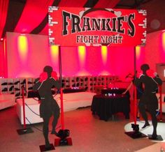 For the entrance into the kids lounge area, a boxing ring was created using Frankie's Fight Night Marquee sign with poles, blue roping and two silhouettes of boxers. Wwe Party, Ufc, Boxing Theme Party Ideas, Ideas Party, Muay Thai, Fight Night, Sports Party, Bar Mitzvah, 1st Birthday Parties