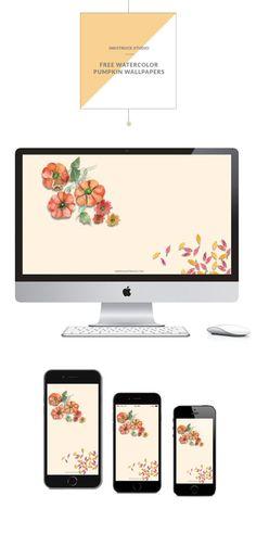 Download free watercolor pumpkin wallpapers for iMac,iPhone5,iPhone 6 and i{Phone 6 plus by Zakkiya Hamza of Inkstruck Studio.