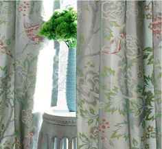 Gray and blush floral drapes
