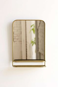 Bathroom Mirror with Shelf Classic Bathroom Mirrors, Bathroom Mirror With Shelf, Brass Mirror, Bronze Bathroom, Small Mirrors, Bathroom Shelves, Vanity Mirrors, Bathroom Inspo, Bathroom Vanities