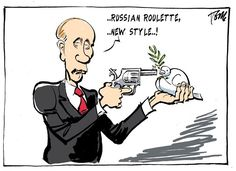 Russian Roulette by Tom Janssen, Dutch editorial cartoonist, working for the Dutch national daily Trouw and the Netherlands Press Association.