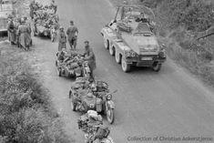 Panzerfunkwagen Sd Kfz 263 (8 rad) passing BMW R35 MCs of a Kraftmeldezug (MC runner platoon), 1. Panzer-Division; Fall Gelb, May 1940