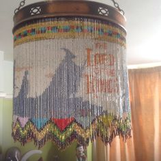 Lord of the Rings beaded lampshade, over 42,000 beads used