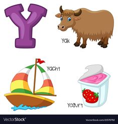 Y alphabet Royalty Free Vector Image - VectorStock Y Alphabet, Alphabet For Kids, Animal Alphabet, English Alphabets With Pictures, Alphabet Pictures, Easter Coloring Pages Printable, Alphabet Coloring Pages, Learning English For Kids, Abc For Kids