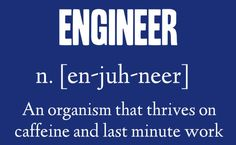 Engineer: An organism that thrives on caffeine and last minute work