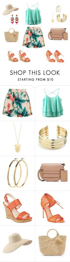 Dois Looks - Mesma Base by luannalopes on Polyvore featuring moda, Topshop, Nine West, Gianvito Rossi, Hat Attack, Valentino, Belk Silverworks, Gorjana, Ranjana Khan and Pieces