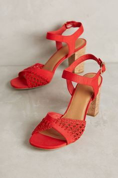 Farylrobin Red Cork Block Heel