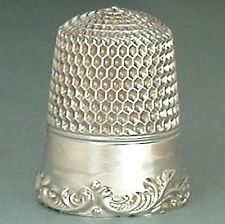 Antique Sterling Silver Louis XV Rim Thimble by Simons Brothers * Circa 1900