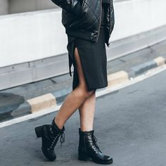 #mikutas shows us how to wear a bomber jacket pairing this black leather number with a pair of edgy combat boots and a slit detailed pencil skirt creating a totally badass look which we love! Top: #thefifthlabel Skirt: #BNKR #BNKRlove Bomber: #jackandjones_official Bag: #Ganni Belt: #dylan_kain Boots: #Esprit #ImPerfect  http://ift.tt/212IKfC #fashionable #fashionista #fashiondiaries #fashionblogger #fashionblog #streetstyle #justthedesign.com #fashionicon  #blogger #trendy #trendsetter…