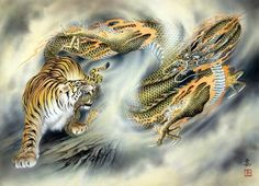 tiger vs dragon by Ozuma Kaname Tiger Dragon, Tiger Painting, Painting Art, Chinese Dragon Tattoos, Year Of The Tiger, Tiger Tattoo, Tattoo Art, Demon Tattoo, Traditional Japanese Tattoos
