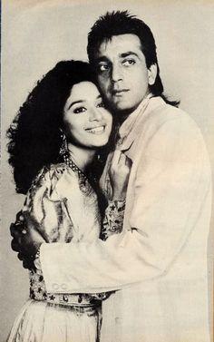 Gabru saab @ Madhuri Dixit ※Sanjay Dutt Old is Gold Sanjay Dutt Bollywood Couples, Bollywood Stars, Bollywood Celebrities, Madhuri Dixit Young, Indian Actresses, Actors & Actresses, Most Beautiful Indian Actress, Beautiful Couple, Indian Star