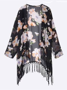 Description: Material:Chiffon Style:Fashion Color:Black Pattern:Floral Printed Sleeve Length:Long Sleeve Season:Summer Package included: 1*Cardigan