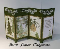 Evergreen and Ornamental Pine stamp sets, Mossy Meadow, Whisper White and Basic Black cardstock, Gold Glimmer paper Mossy Meadow Ink, ribbon, sequins and rhinestones.  Finished size is 6 X 11.