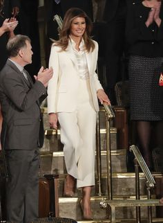 Melania Trump channels Hillary Clinton in white at SOTU Making a statement: Melania Trump's all-white pantsuit at the State of the Union spoke volumesm and helped her to send a powerful message Milania Trump Style, Melania Knauss Trump, Star Fashion, Fashion Outfits, Fashionable Outfits, White Pantsuit, Donald And Melania, Trump Is My President, All White Outfit