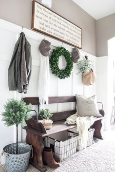 Modern farmhouse decor ideas want for your own home living room a rustic bench on budget . home living room magnolia furniture Apartment Decoration, Decoration Ikea, Decoration Entree, Hall Decorations, Rustic Entryway, Entryway Decor, Entryway Ideas, Rustic Bench, Entryway Storage