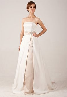 Simple Strapless Satin Wedding Dress with Amazing Contrast Colors