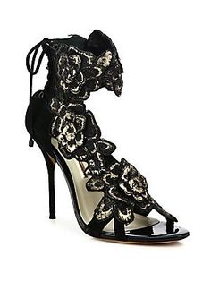 Sophia Webster Winona Floral-Embroidered Suede Lace-Back Sandals