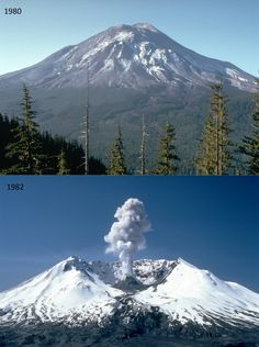 Mount St. Helens volcano before and after eruption. - Imgur