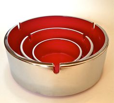 Set of Three Vintage Retro Mid Century Nesting Ashtrays by Trend Pacific Isamu Kenmochi Chrome and Red Melamine by YatsDomino on Etsy