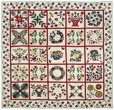 Baltimore appliqué and trapunto album quilt, dated 1851, with twenty-five floral decorated panels within a trailing vine and berry border, 1...