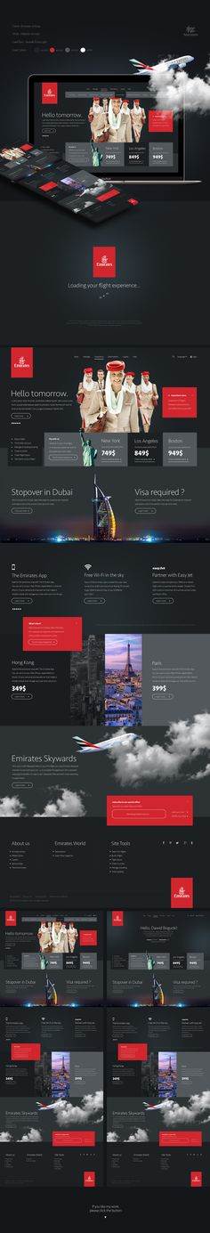 Emirates Airlines Website Concept by Dawid Bogucki / Four Zero Digital Studio. EA need some changes. If You like my work, please click magic button, Thank You, and have a nice day! Beautiful Website Design, Emirates Airline, Creative Web Design, Ui Web, Website Themes, Website Design Inspiration, User Interface Design, Page Design, Behance
