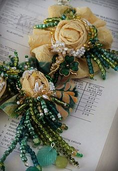 GET LUCKY Beaded Yellow Green Textile Statement by carlafoxdesign Fabric Necklace, Fabric Jewelry, Fabric Flower Brooch, Fabric Flowers, Hand Embroidery Designs, Ribbon Embroidery, Handmade Flowers, Handmade Crafts, Fabric Embellishment
