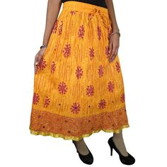 Mogulinterior Womens Gypsy Crinkle Skirt Yellow Floral Printed Lace Work Boho Mid Length Skirts