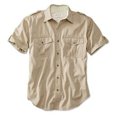 Built from tightly woven pure cotton, our midweight Bush Poplin short-sleeve safari shirt breathes well and wicks dust and moisture to keep you dry and cool on your adventures. Made to take on outdoor use, poplin has been standard issue in expedition and safari clothing for nearly a century, and was used widely in the field during WWII. Two big button-through pleated pockets, working epaulets for binocular or camera straps, and roll-up sleeve tabs. Short-sleeve safari shirt in pure cotton.