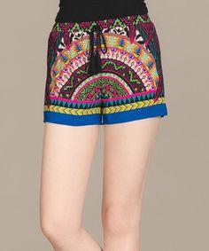 Look what I found on #zulily! Black & Pink Mosaic Drawstring Shorts #zulilyfinds