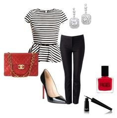 Stripe by pinkcrema on Polyvore featuring polyvore, fashion, style, Forever New, Christian Louboutin, Chanel, Noir Cosmetics and RGB