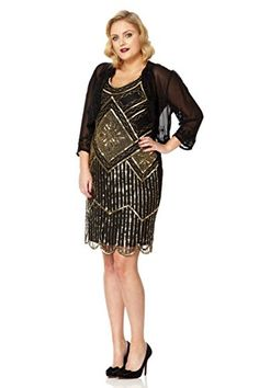 Fashion Plus Size: Dresses: Gatsby lady Edith 1920's Vintage Flapper Dress www.fashionbug.us #plussize #fashionbug #vintage #rockabilly #pinup 1X 2X 3X 4X 5X 6X