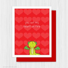Valentines Day Card Cute Dragon Pun Valentine by SunnyDoveStudio