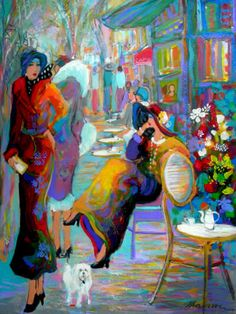 Women in Painting by Isaac Maimon Israeli Artist - Le Chien Blanc De Gigi Art And Illustration, Figure Painting, Painting & Drawing, Contemporary Artists, Modern Art, Art Amour, Fine Art, Art Design, Beautiful Paintings