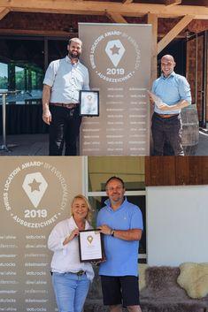 Glückliche Gewinner: In der Kategorie «Event und Partyräume» vom Swiss Location Award 2019 hat die Rhyschüür in Diessenhofen den 1. Platz erreicht, das Dukes in Hirzel hat den Publikumspreis gewonnen. Location, Awards, Cover, Books, Recital, Birthday, Livros, Libros, Livres