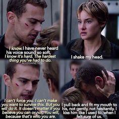 What book is this in? Tris Et Tobias, Divergent Four, Tris And Four, Divergent Fandom, Divergent Trilogy, Tfios, Insurgent Quotes, Divergent Insurgent Allegiant, Divergent Quotes