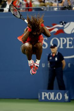 JUMP FOR JOY: Serena Williams celebrates winning her 5th US Open Title. This puts Serena's singles SLAM wins at 17. Serena hit 6 of the 8 winners in the third set beating Vika Azarenka 7-5, 6-7, 6-1. Serena had never won two consecutive US Opens, but now she has, adding to the 4 other trophies she earned in New York in 1999 (at age 17) - then 2002 & then 2008 & then 2012. 9/8/13   #TEAMSERENA