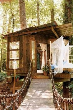 Rustic Porch with Sleeping porch, Pathway, Custom Treehouse Rope Bridge, Treehouse, Screened porch